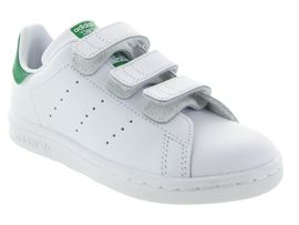4011 STAN SMITH CADETS VELCRO:Synthétique/Blanc/Blanc