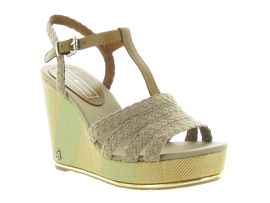 TOMMY HILFIGER PRINTED WEDGE SANDAL<br>Taupe