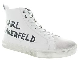 KARL LAGERFELD SKOOL BRUSH LOGO HI BOOT<br>Blanc