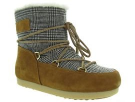 MOON BOOT MB FAR SIDE LOW FUR TARTAN<br>Camel