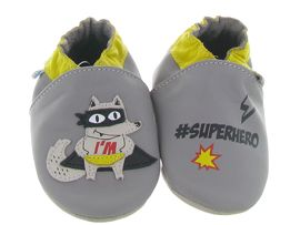 FUNNY DINO SUPER WOLF:Cuir lisse/Gris/Gris