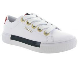 CP ROCK LEATHER ELEVATED TOMMY SNEAKER:Cuir lisse/Blanc/Blanc