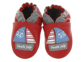 PANDA AUTO PIRATE SHIP:Cuir lisse/Rouge/Rouge