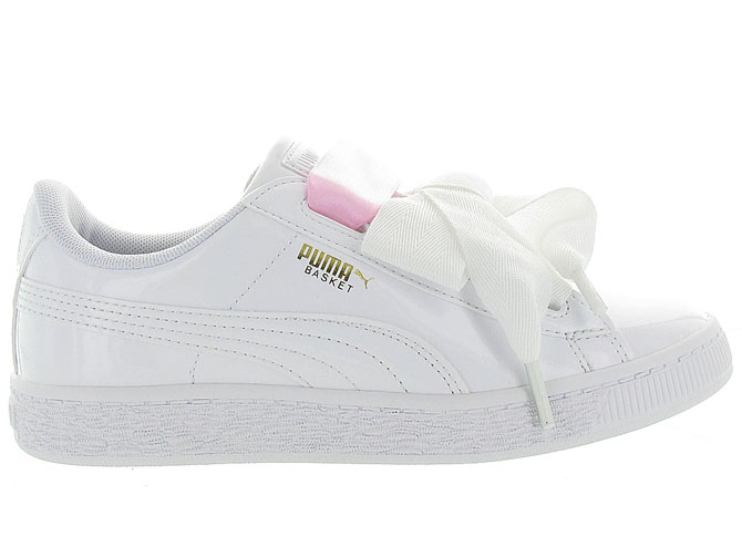 Puma baskets et sneakers heart basket patent jr blanc9985603_2