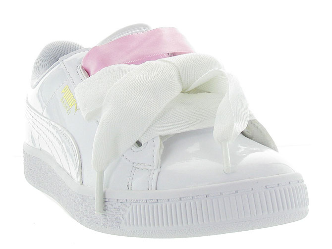 Puma baskets et sneakers heart basket patent jr blanc9985603_3